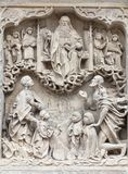 14世纪哥特式圣Elisabeth教会,在门面,集市广场,弗罗茨瓦夫,波兰的安心 免版税图库摄影