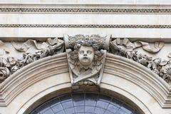 18世纪圣保罗大教堂,在门面,伦敦,英国的装饰安心 库存照片