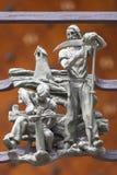 14世纪圣Vitus大教堂,金门篱芭,布拉格,捷克细节  免版税库存图片