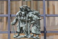14世纪圣Vitus大教堂,金门篱芭,布拉格,捷克细节  图库摄影