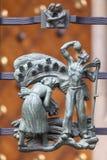 14世纪圣Vitus大教堂,金门篱芭,布拉格,捷克细节  免版税库存照片