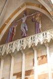 14世纪圣Vitus大教堂,门面,在金门的马赛克,布拉格,捷克 库存照片