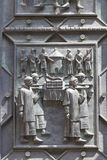 14世纪圣Vitus大教堂,门面,安心,门,布拉格,捷克的细节 库存照片