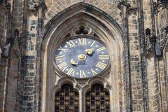 14世纪圣Vitus大教堂,门面,时钟,布拉格,捷克语 免版税库存照片