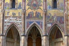 14世纪圣Vitus大教堂,门面,马赛克,前评断,布拉格,捷克 免版税库存图片