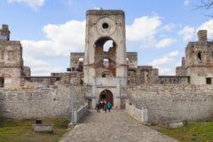 17世纪城堡Krzyztopor,在fortezza,废墟,乌亚兹德,波兰的意大利样式palazzo 图库摄影