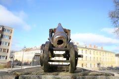 19世纪大炮在陶格夫匹尔斯堡垒 库存照片