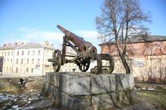 19世纪大炮在陶格夫匹尔斯fortness的 免版税库存图片