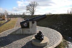 19世纪大炮在陶格夫匹尔斯fortness的 免版税图库摄影