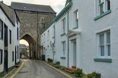 14世纪小修道院警卫室在Cartmel 库存照片