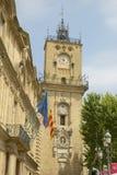 16世纪尖沙咀钟楼,艾克斯普罗旺斯,法国 免版税图库摄影