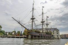 17世纪帆船复制品  库存照片