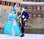 世纪服装、小丑和公主 库存图片