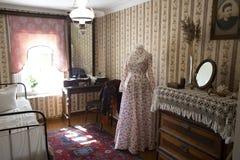 19世纪梁赞俄罗斯的卧室夫人的内部 免版税库存图片
