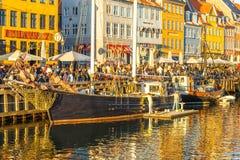 17世纪江边Nyhavn在哥本哈根 库存图片
