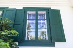 18世纪波兰庄园住宅,窗口,露天博物馆, Janowiec,波兰 库存图片