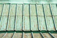 18世纪的一个老铜屋顶的细节 免版税图库摄影