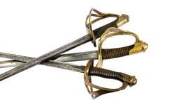 18世纪的三把法国剑在白色背景的 免版税库存照片
