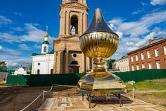 19世纪的上帝的母亲的Theodorovskaya象的教会在Uglich,俄罗斯 库存图片