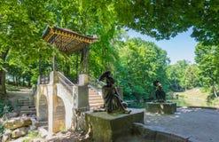 19世纪的中国桥梁与雕塑的 免版税库存图片