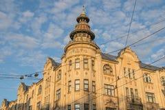 20世纪的初期的老房子在里加,拉脱维亚 免版税库存图片