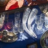 19世纪的古董在跳蚤市场上的待售在第比利斯 免版税图库摄影