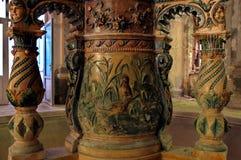 从19世纪的喷泉的细节- Baile Herculane -罗马尼亚 库存图片