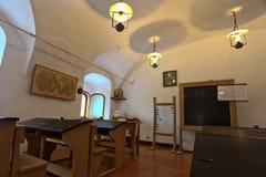 19世纪的学校的内部 库存照片