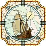 17世纪的帆船的例证。 免版税库存照片