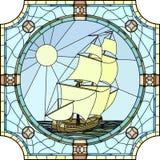 17世纪的帆船的例证。 库存图片