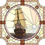 17世纪的帆船的例证在日落的。 免版税图库摄影