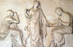 15世纪的殡葬纪念碑,圣劳伦斯教会门廓Lucina的,罗马 免版税库存照片
