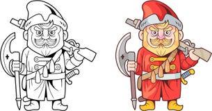 16世纪的滑稽的俄国战士,设计彩图 库存照片