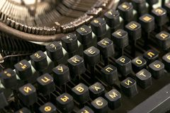 19世纪的老机械打字机 免版税库存图片