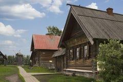 19世纪的街道俄国村庄 库存照片