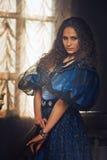 18世纪的衣物的美丽的妇女 库存图片
