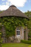 19世纪盖了围绕美丽的花床和石渣道路包围的房子在被围住的庭院里在西部教务长加尔德角 免版税库存图片