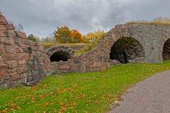 18世纪石Ungern本营的废墟洛维萨的, Finla 库存照片