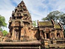10世纪砂岩寺庙在柬埔寨 库存照片