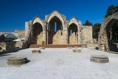 14世纪罗得岛废墟  免版税库存图片