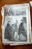 19世纪老法国时装杂志盖子 免版税图库摄影