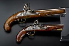 18世纪英国燧发枪手枪。 免版税库存图片