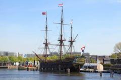 17世纪荷兰航行货船,阿姆斯特丹, Netherlan 免版税图库摄影