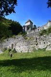 12世纪被破坏的卡梅尼火山城堡 免版税库存照片
