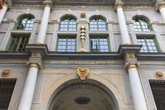 17世纪金门龙街门,装饰门面,格但斯克,波兰 图库摄影