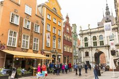 17世纪金门龙街门,装饰门面,格但斯克,波兰 库存照片
