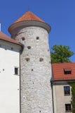 14世纪防御城堡Pieskowa Skala,塔防御,在克拉科夫附近,波兰 库存照片