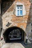 14世纪防御墙壁的片段 库存照片