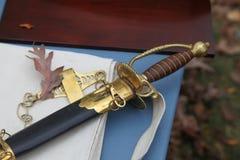 18世纪静物画剑和刀鞘 库存图片