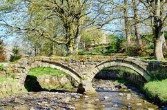 13世纪驮马桥梁在Wycoller 免版税库存图片